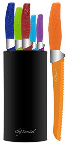 Chef Essential 7 Piece Knife Block Set, Multicolor