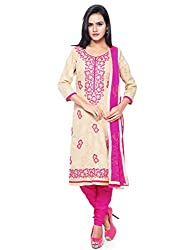 Kanchnar Women's Beige and Pink Brasso Cotton Party Wear Dress Material for Traditional Wedding Wear,Navratri Special Dress,Great Indian Sale,Diwali Gift to Wife,Mom,Sister,Friend