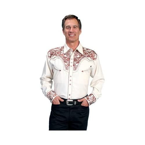 Scully Men's Gunfighter Heavily Embroidered Retro Western Shirt - P-634 Natural