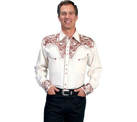 Scully Men's Gunfighter Heavily Embroidered Retro Western Shirt - P-634 Natural 0
