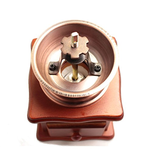 Manual Vintage Bronze Coffee Grinder Household Retro Wood Coffee Mill With Procelain Movement Bean Grinder 2