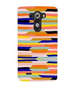 PrintVisa Color Block Pattern 3D Hard Polycarbonate Designer Back Case Cover for LG G3