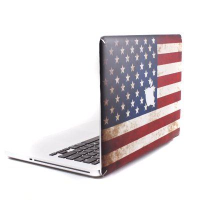 GMYLE US Flag with Apple Cutout Protective Decal Vinyl Skin Sticker for Apple MacBook White/Macbook Pro/Macbook Air 13-Inch/13.3-Inch