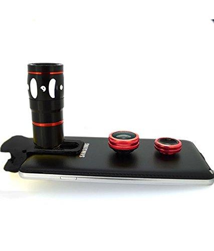 Evana Universal 3 in 1 Cell Phone Camera Lens Kit - Fish Eye Lens / 2 in 1 Macro Lens & Wide Angle Lens (Red)