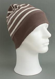 Rollmütze mit unifarbenen Rand taupe - natur hellbraun beige gestreift für Erwachsene von Modas