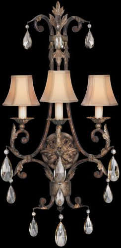 Fine Art Lamps 227150, Stile Bellagio Crystal Wall Sconce Lighting, 3 Light, 180 Watts, Leather