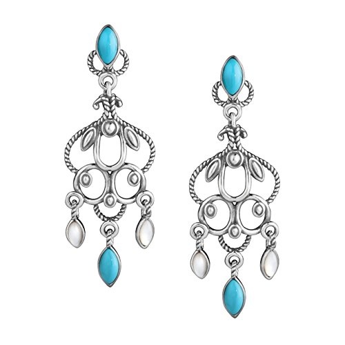 Sterling Silver Turquoise Mother Of Pearl Chandelier Earrings