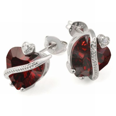 Sterling Silver 925 (sterling silver 925) earrings Polished With 2 7 January birth stone Ruby Heart-Shaped Zirconia And 2 Cubic Zirconia By Goldmaid ladies [parallel import goods]