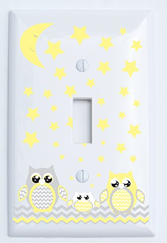 Grey and Yellow Owl Light Switch Plate Covers / Owl Nursery Decor (Single Toggle Light Switch Plates) (Owl Wall Plate Cover compare prices)