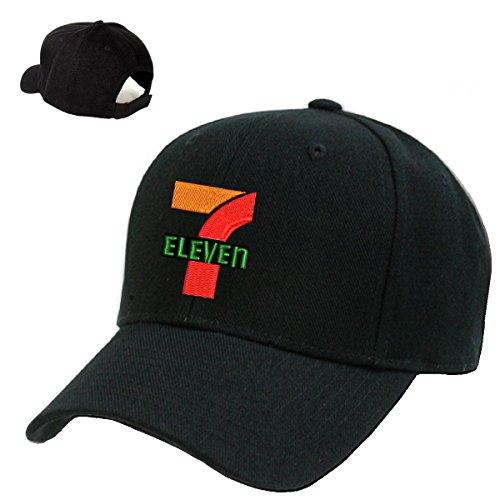 seven-11-mart-marke-gas-station-black-embroidery-adjustable-baseball-cap-souvenier-gift-unique-hat