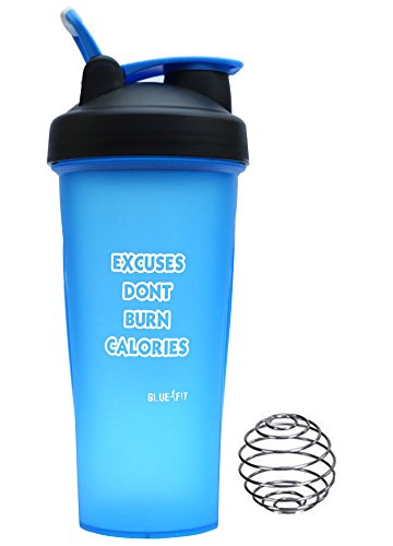 BlueFit Shaker Bottle Protein Mixer 600 Ml Blue With Blender Wire Ball