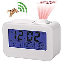 Projection Clock with Dual Alarm,Temperature & Calendar Date Display,Time alarm with snooze,Voice-Activated Clock