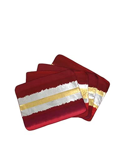 Aviva Stanoff Set of 4 Placemats, Red/Gold/Silver