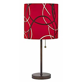 pull chain bronze table lamp with red pattern drum shade amazon. Black Bedroom Furniture Sets. Home Design Ideas