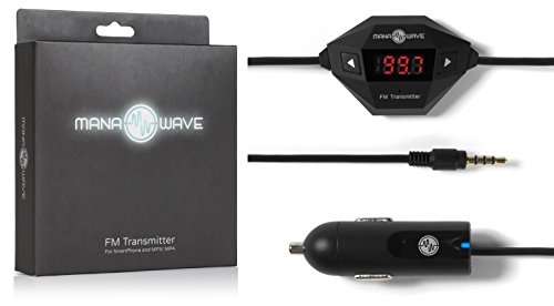 Fm Transmitter By Manawave - Best Universal Wireless Usb Car Charger Adapter For Iphone Android Samsung Sony Htc Blackberry Or Any Mp3 Mp4 Player With 3.5Mm Headphone Jack - Hands Free Calling Digital Display High Power - Buy Now Risk Free