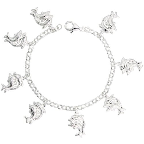 Sterling Silver Double Dolphin Charm Bracelet, 7/8