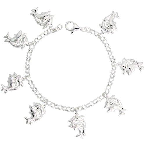 Sterling Silver Double Dolphin Pendant Bracelet, 7/8