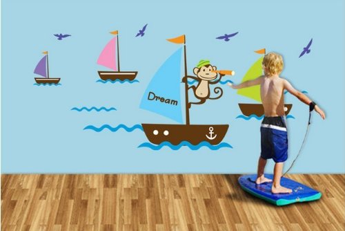 Sticker On The Wall Vinyl Wall Stickers For Kids Rooms Mural Wall Paper Monkey Navigation Boat Dream Wall Decals W-6 front-737447