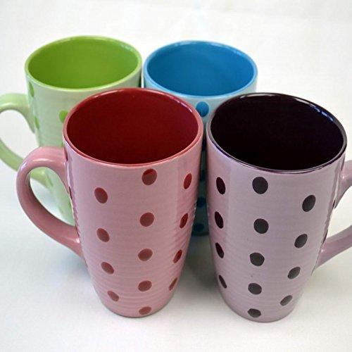 naund 41320 Tasse Kaffeepott Keramik ca.350ml höhe 10cm ( Punkte ), Color:rot / bordeaux