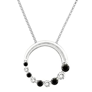 "10K White Gold 1/4 ct. Alternating Black and White Diamond ""Journey of Love"" Circle Pendant with Chain by Katarina"
