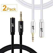 buy Super Hd 3.5Mm Aux Stereo Audio Extension Cable Slim Male To Female Type 24K Gold Plated Step Down Design Metal Connectors With High Purity Ofc Conductor White And Black-2Feet-2Pack