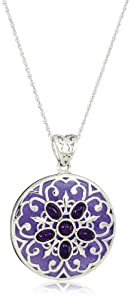 Sterling Silver Large Round Simulated Purple Jade and Amethyst Pendant Necklace, 18""