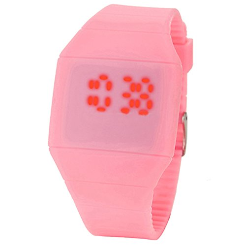 Ocaler®Touch Screen Led Wrist Watch Cheap Price Ultra-Thin Plastic Candy Color (Pink)