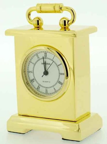 Miniature Premium Range Gold Plated Carriage Clock in a Flock Black Box that can be Personalised FREE ENGRAVING