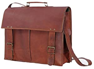 Passion leather 16 Inch Men's Leather Laptop Messenger Briefcase Bag from Passion Leather