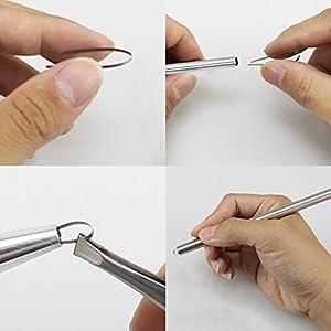 Razor Pen for Hair Design Barber Razor Pen Blades Professional Art Cut Salon Magic Engraved Sharp Pen Tweezers DIY Hair Styling Tools Hair Cutting Tattoo Stick Stainless Steel Hairstyle Accessories