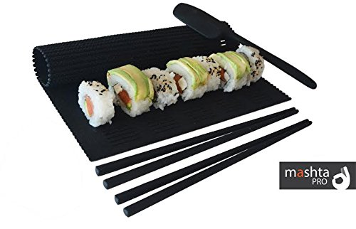 Mashta Sushi Making Kit Non Stick Silicone -Rolling Mat, Spatula and 2 Chopsticks Included, Black