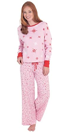 Pink Cotton Thermal Knit Sweet Snowflake Pajamas for Women