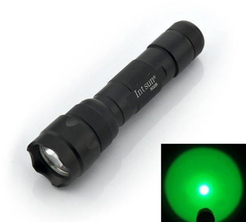 Intsun® Wf-501B 502B Cree Q5 Single Mode Red Green Purple Light Hunting Led Flashlight Torch Lamp Inspection Led Cat-Dog-Pet Urine Blacklight Flashlight Torch Powered By 1 X 3.7V 18650 Battery + Wired Single-Slot Charger Kit (Green)