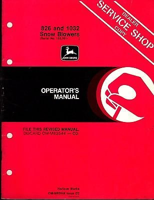 JOHN DEERE 826 & 1032 SNOW BLOWER OPERATORS MANUAL OM-M83544 ISSUE D2 (297)