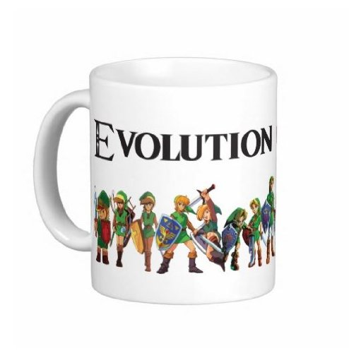 0195 Evolution Of Link Zelda 15 Ounce Ceramic Coffee Mug - Dishwasher And Microwave Safe - Free Priority Shipping