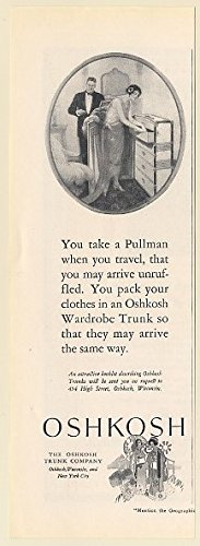 1925 Oshkosh Wardrobe Trunk Travel Arrive Unruffled Print Ad (64115)