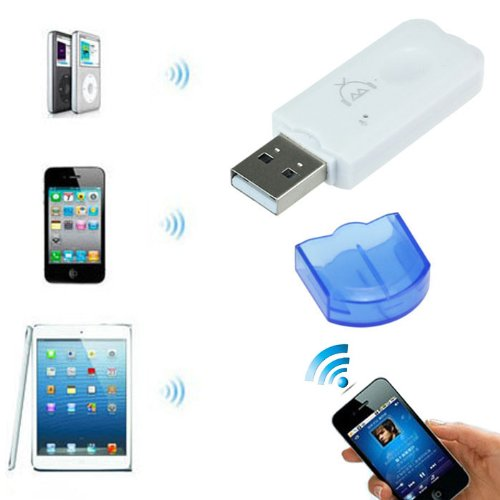 Newstyle Usb Wireless Bluetooth Stereo Audio Music Receiver Adapter For Iphone Smartphone Device - Blue