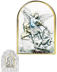 Saint Michael Mother of Pearl. Salerni of Italy's Genuine Sterling Silver Images Are Cast in a Beautiful Setting of Swarovski® Crystals, Mother of Pearl, or Enamel Tabletop Frames. Sterling/ Genuine Mother of Pearl -- 3.5