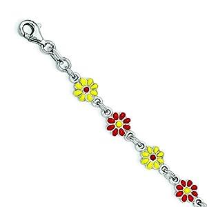 Sterling Silver Silver Enamel Flowers Bracelet