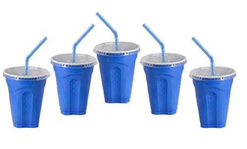 Solo 9 Oz Plastic Cup, Lid, & Straw Combo Pack, (15 Sets) Blue