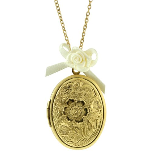 Stunning 30mmx23mm Gold Color Oval Shape Flower Engraved Locket With 36