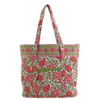 Nantucket Home Large Quilted Tote Bag with Pattern (Pink/Green Paisley)