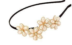 Deamrkt Damen Perle Blume flashen Diamond Stirnband Haarreif Haarband Haarschmuck Stirnschmuck Hochzeit
