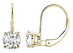 0.25 CTW Round White-Diamond Leverback Earrings in 14K Yellow Gold