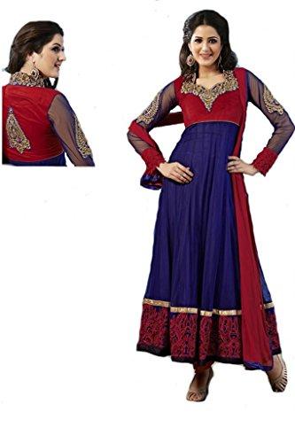 Dani Fashions Womens Net Blue Free Size Anarkali Suit