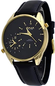 buy Omax #S002G221 Men'S Leather Band Gold Tone Dual Time Zone Watch