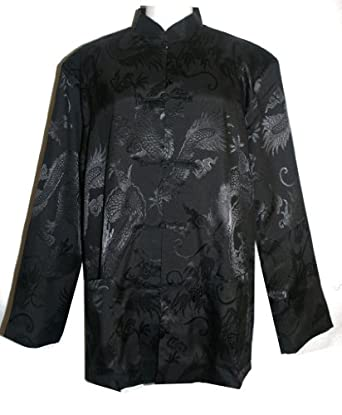 # 507 Oriental Asian Jacket Kung Fu Tai Chi (Black/Yellow, XL/1X)
