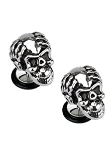 Buy fake body jewelry - Metallic Skull Screw On Cheater Plugs (18 Gauge) - Steel Skeleton Skull Fake Plug (Imitates 2 Gauge) Body Jewelry (2 Piece Pair)