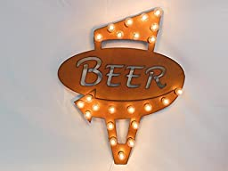Retro beer marquee lighted sign vintage inspired rusted rustic