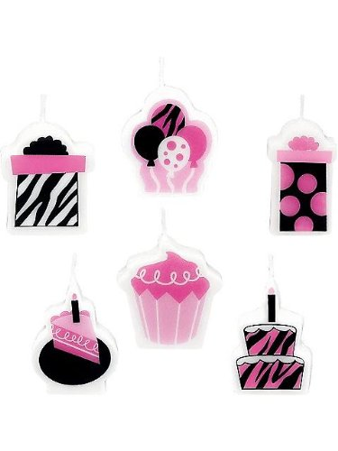 "Amscan Another Year of Fabulous Mini Molded Birthday Cake Candle Celebration Set, 1.25"", Black/Pink/White"